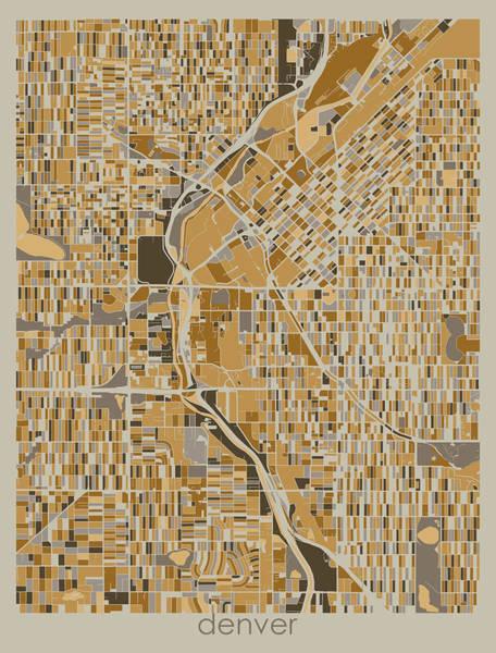Wall Art - Digital Art - Denver Map Retro 4 by Bekim M