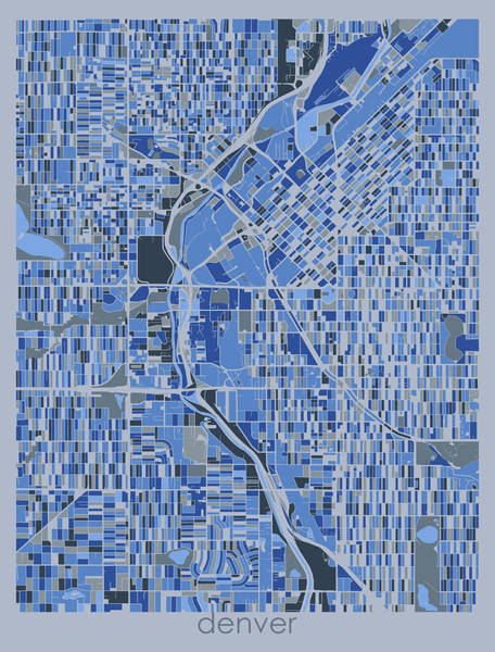 Wall Art - Digital Art - Denver Map Retro 5 by Bekim M