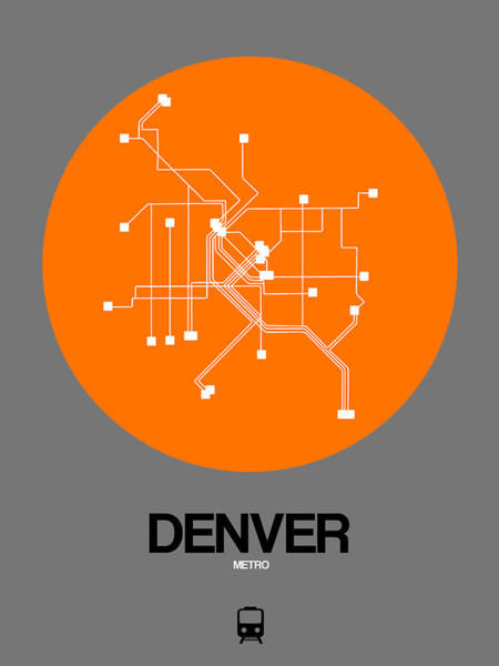 Wall Art - Digital Art - Denver Orange Subway Map by Naxart Studio