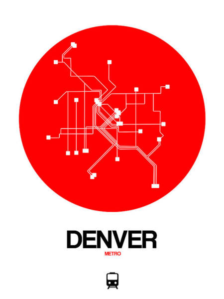 Wall Art - Digital Art - Denver Red Subway Map by Naxart Studio