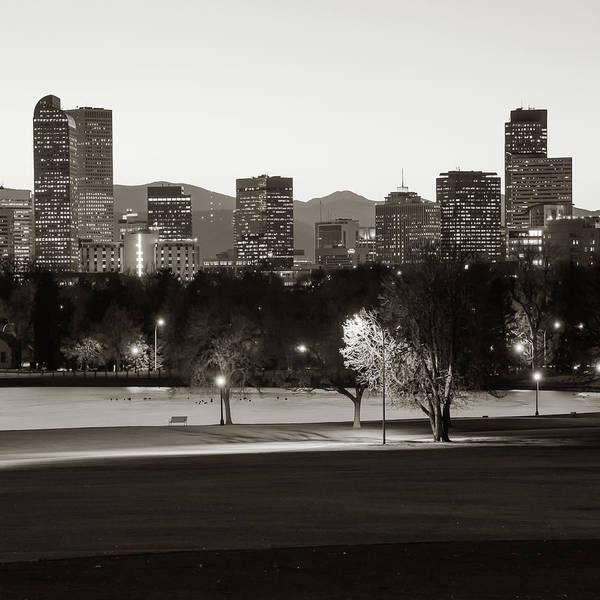Photograph - Denver Rocky Mountain Skyline - Classic Sepia by Gregory Ballos