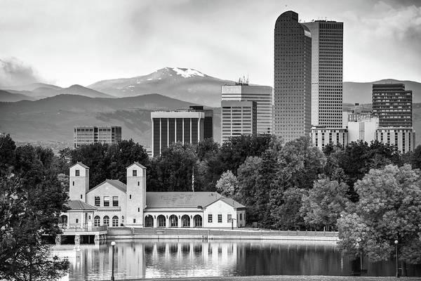 Photograph - Denver Skyline And Rocky Mountains - City Park Landscape - Monochrome by Gregory Ballos