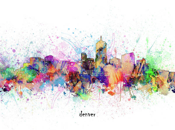 Wall Art - Digital Art - Denver Skyline Artistic by Bekim M