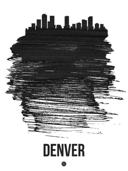Country Mixed Media - Denver Skyline Brush Stroke Black by Naxart Studio