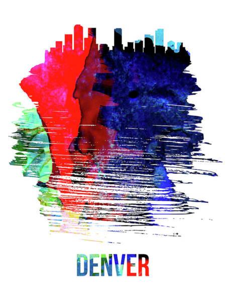 Country Mixed Media - Denver Skyline Brush Stroke Watercolor   by Naxart Studio