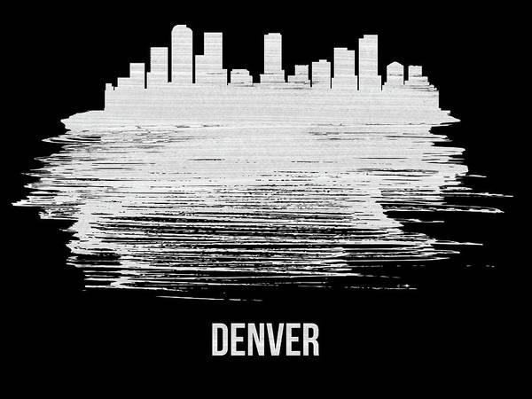 Wall Art - Mixed Media - Denver Skyline Brush Stroke White by Naxart Studio