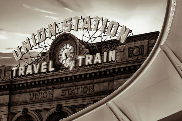 Photograph - Denver Union Station Neon Sign And Architecture - Sepia Edition by Gregory Ballos