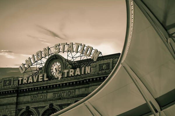 Photograph - Denver Union Station Sunrise - Sepia by Gregory Ballos