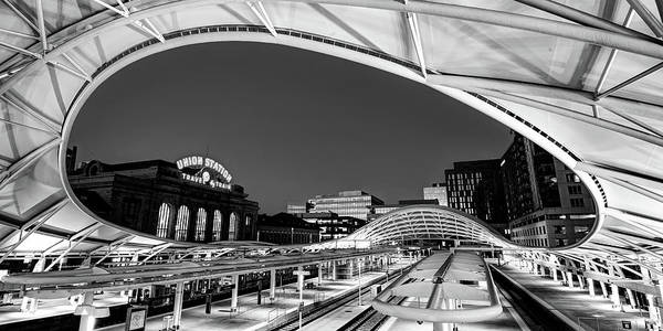 Photograph - Denver Union Train Station Panoramic Monochrome by Gregory Ballos