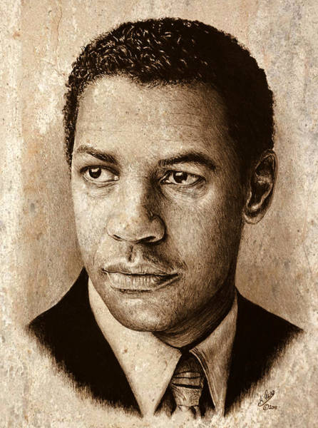 Handsome Drawing - Denzel Washington Sepia by Andrew Read