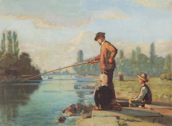 Angler Art Painting - Der Angler by Ferdinand Hodler Paintings