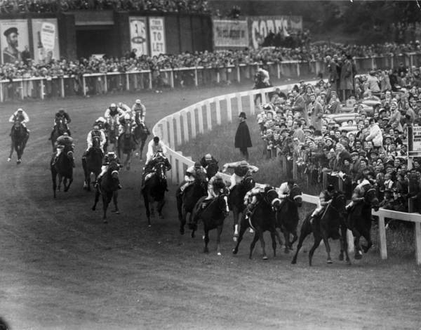 Epsom Derby Photograph - Derby Corner by Topical Press Agency