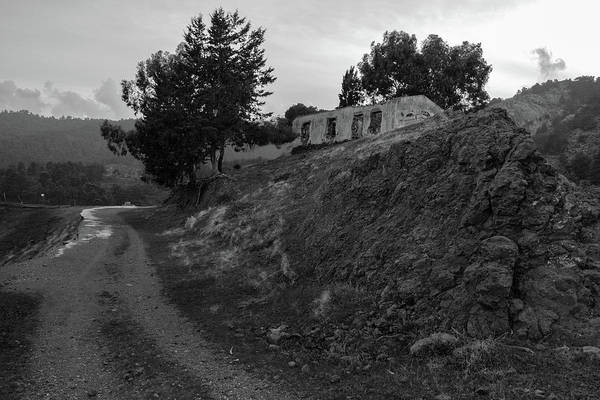 Wall Art - Photograph - Derelict House On The Hill In Monochrome by Iordanis Pallikaras