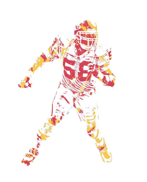 Wall Art - Mixed Media - Derrick Thomas Kansas City Chiefs Pixel Art 1 by Joe Hamilton