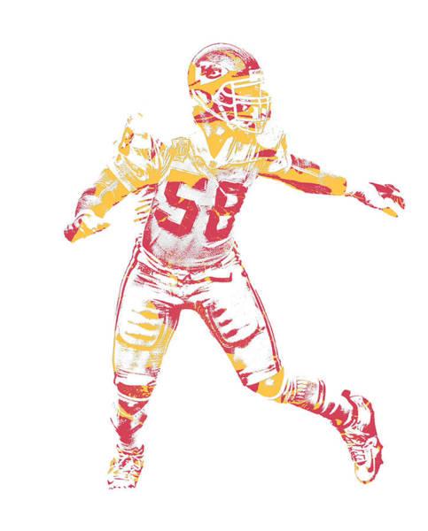 Wall Art - Mixed Media - Derrick Thomas Kansas City Chiefs Pixel Art 2 by Joe Hamilton