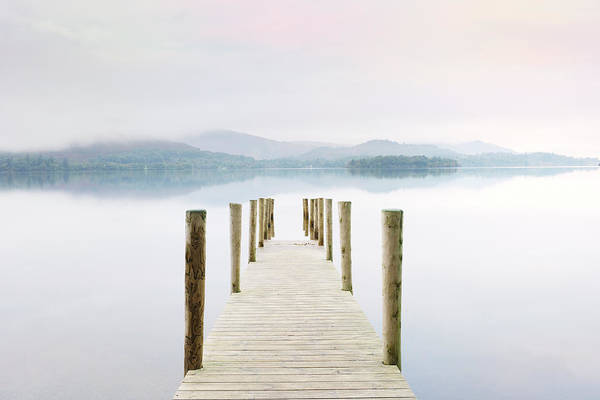 Jetty Photograph - Derwent Water Jetty On A Misty Morning by Cornelia Doerr