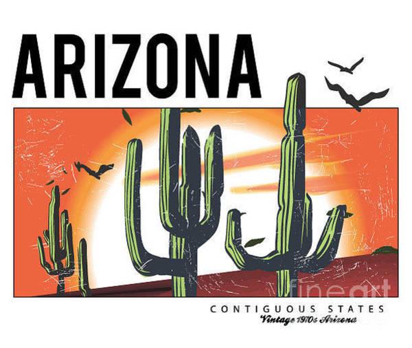 Wall Art - Digital Art - Desert Arizona Cactus Illustration For by Yusuf Doganay