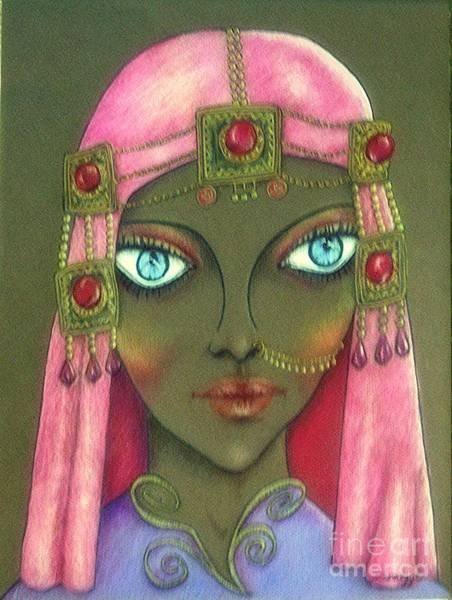 Nomad Drawing - Desert Diva -- Whimsical Arabic Woman by Jayne Somogy