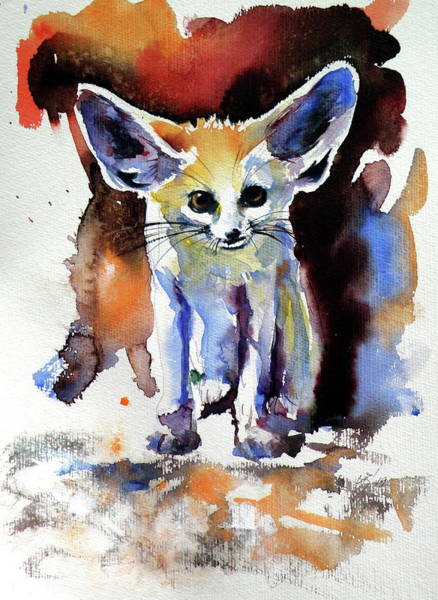Wall Art - Painting - Desert Fox Watching by Kovacs Anna Brigitta