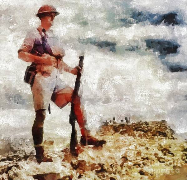 Wall Art - Painting - Desert Guard, Wwii by Mary Bassett