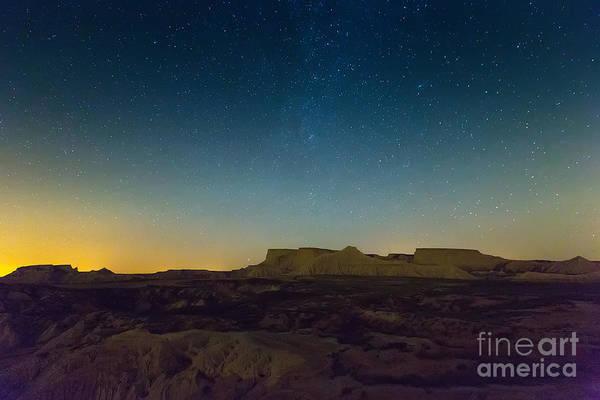 Arid Wall Art - Photograph - Desert Landscape Of Navarra In Night by Iakov Filimonov