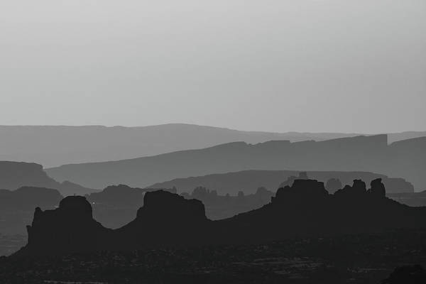 Photograph - Desert Mountain Layers - Monochrome Minimalism by Gregory Ballos