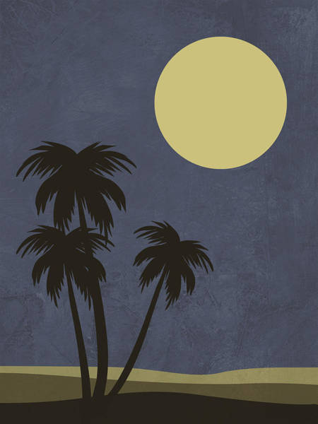 Earth Day Wall Art - Mixed Media - Desert Palm Trees And Yellow Moon by Naxart Studio