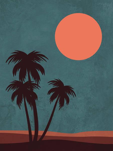 Earth Day Wall Art - Mixed Media - Desert Palm Trees by Naxart Studio