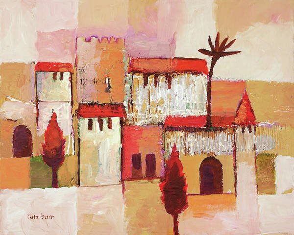 Wall Art - Painting - Desert Town by Lutz Baar