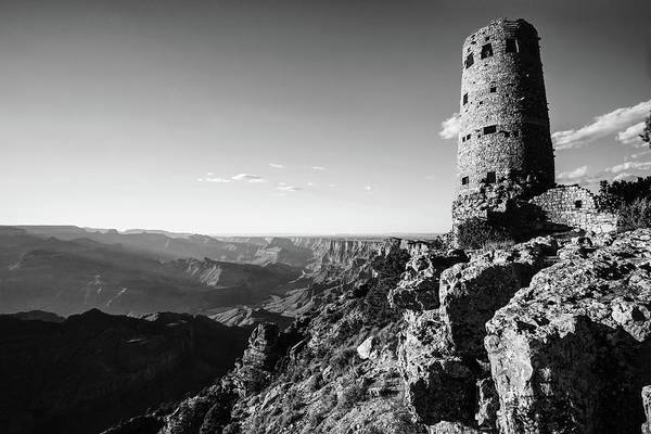 Photograph - Desert View Watchtower - Grand Canyon Arizona - Black And White by Gregory Ballos