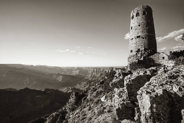 Photograph - Desert View Watchtower - Grand Canyon Arizona - Sepia by Gregory Ballos