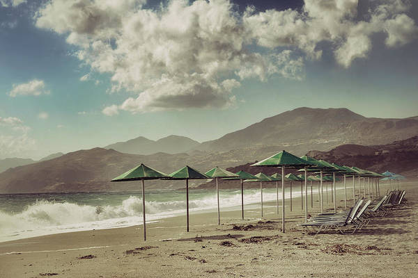 Wall Art - Photograph - Deserted Sandy Beach With Sunbeds And by Jeren (france)