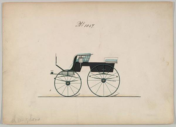Classic Car Drawings Painting - Design For 4 Seat Phaeton, No Top, No. 1057 Brewster  Co. American, New York by MotionAge Designs