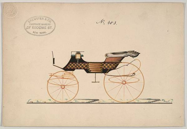 Classic Car Drawings Painting - Design For 4 Seat Phaeton, No Top, No. 140  1850-70 by MotionAge Designs