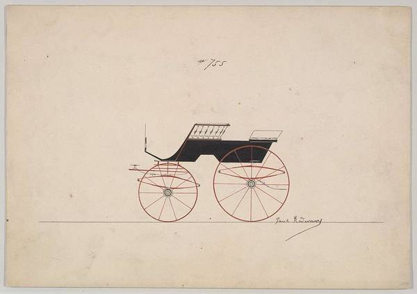 Classic Car Drawings Painting - Design For 4 Seat Phaeton, No Top, No. 755  Paul Rodissart American, Active 1850-80 by Paul Rodissart
