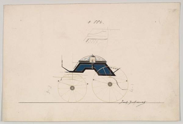 Classic Car Drawings Painting - Design For 4 Seat Phaeton, No Top, No. 806  1850-70 by MotionAge Designs