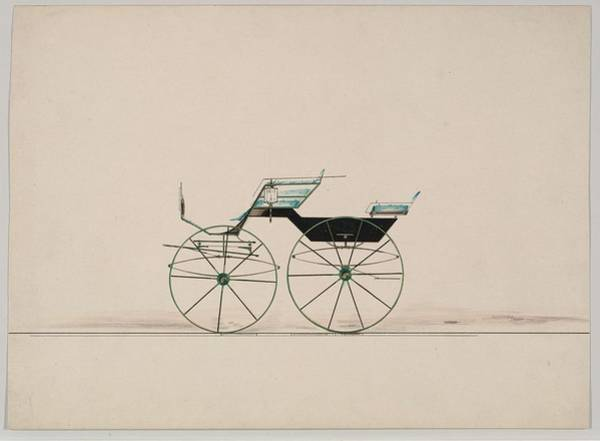 Classic Car Drawings Painting - Design For 4 Seat Phaeton, No Top Unnumbered   1850-70 by MotionAge Designs