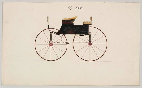 Classic Car Drawings Painting - Design For 4 Seat Phaeton, No Top Unnumbered Brewster And Co. American, New York by Brewster and Co