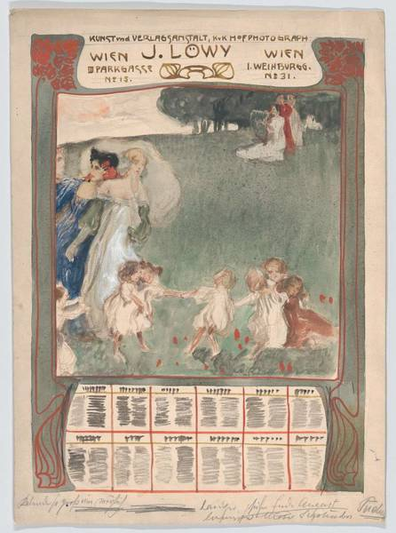Scandinavian Style Painting - Design For A Poster Of Calendar For J. Lowy Vienna  Erwin Puchinger Austrian, Vienna 18751944 Vi by Vienna  Erwin Puchinger