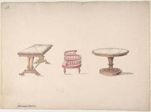 Scandinavian Style Painting - Design For A Rectangular And Round Marble-topped Tables And A Tete-a Tete Chair Anonymous, British,  by MotionAge Designs