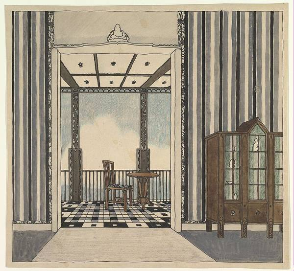Scandinavian Style Painting - Design For A Room With A Balcony  Attributed To Guido Heigl German, 1890-1926 by Guido Heigl