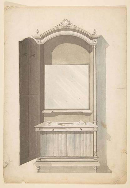Scandinavian Style Painting - Design For A Sink And Vanity  Anonymous, French, 19th Century by MotionAge Designs