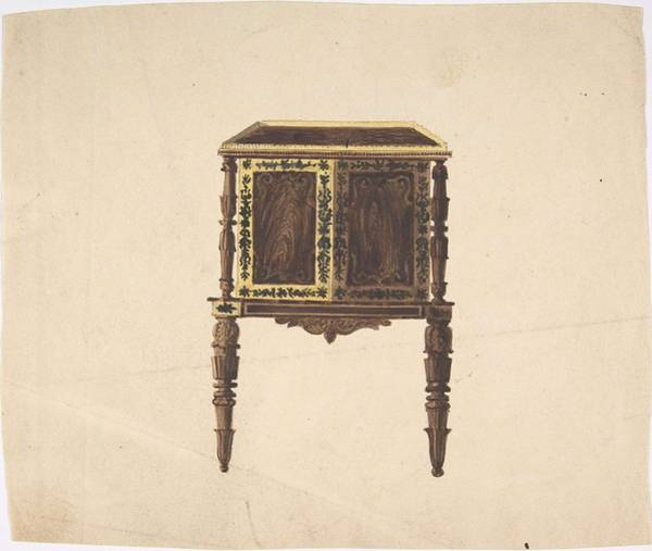 Scandinavian Style Painting - Design For A Small Cabinet With Elaborately Carved Legs  Anonymous, British, 19th Century by MotionAge Designs