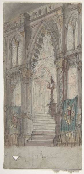 Scandinavian Style Painting - Design For A Stage Set At The Opera, Paris Church Interior Eugene Ciceri French, Paris 1813-1890 Fo by Eugene Ciceri