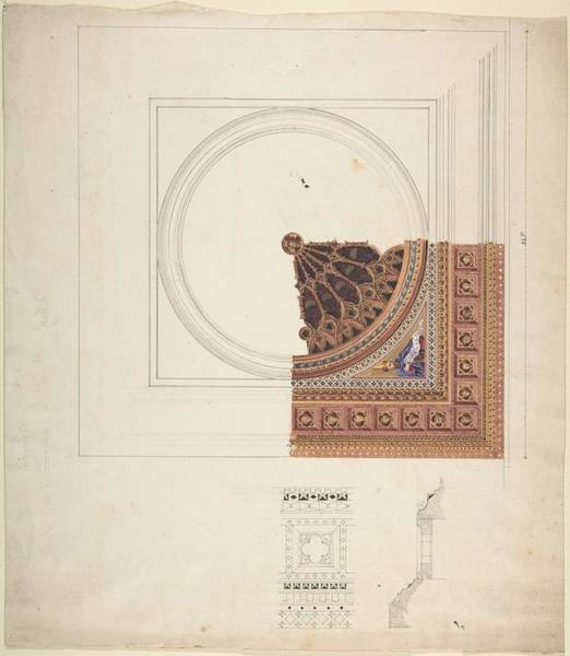 Scandinavian Style Painting - Design For A Stained Glass Window  Attributed To John Dibblee Crace British, London 1838-1919 Londo by John Dibblee Crace