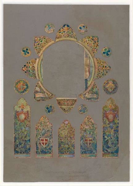 Scandinavian Style Painting - Design For A Stained Glass Window  Louis Comfort Tiffany American, New York 1848-1933 New York by Louis Comfort Tiffany