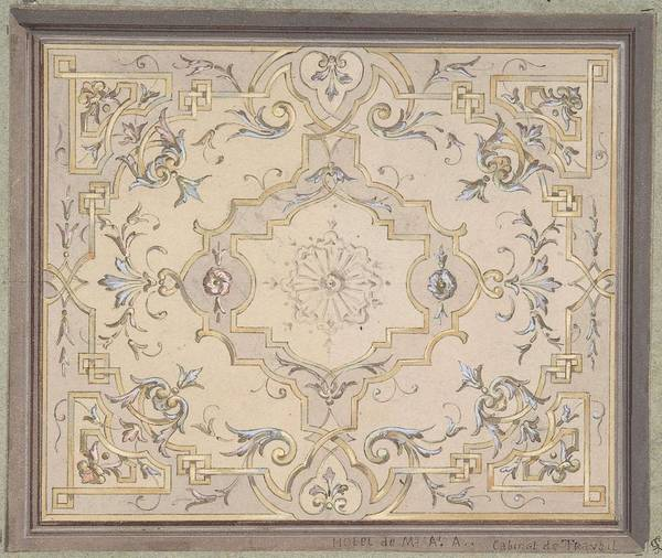 Scandinavian Style Painting - Design For A Study Ceiling  Jules-edmond-charles Lachaise French, Died 1897 by Jules-Edmond-Charles Lachaise
