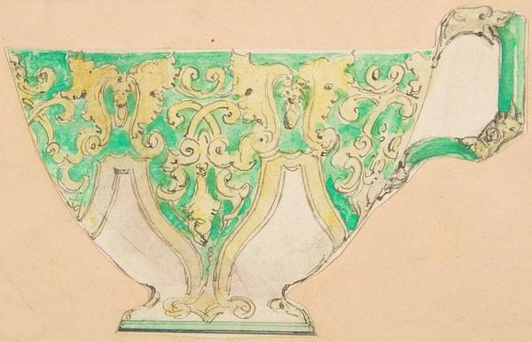 Scandinavian Style Painting - Design For A Tea Cup   Anonymous, French, 19th Century by MotionAge Designs