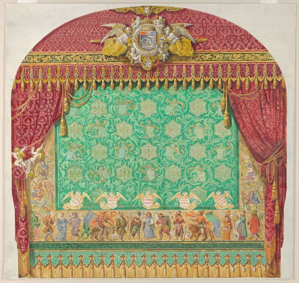 Scandinavian Style Painting - Design For A Theater Curtain  Aime Chenavard French, 1798-1838 by AimeChenavard