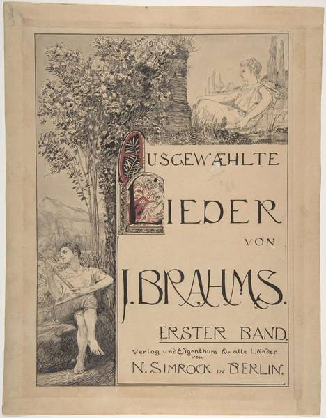 Scandinavian Style Painting - Design For A Title Page For Sheet Music  Max Klinger German, Leipzig 1857-1920 Grobjena by MotionAge Designs